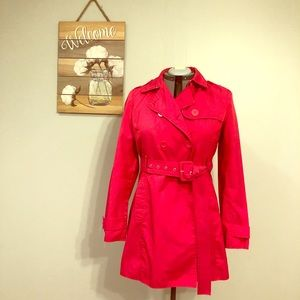 Kenneth Cole Reaction hot pink trench coat
